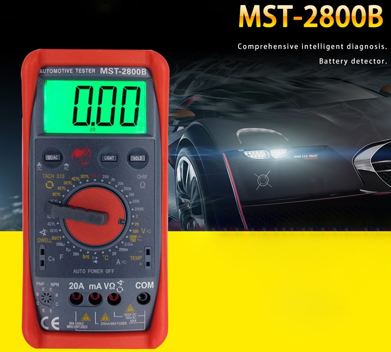 MST-2800B Intelligent Automotive Digital Multimeter with Large LCD Screen