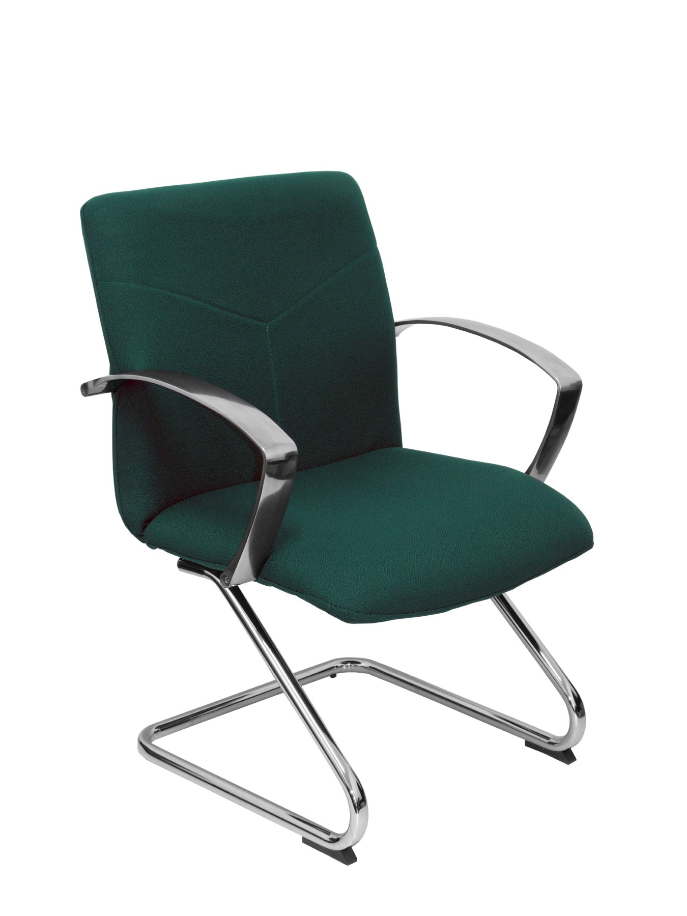 Armchair's Reception Ergonomic With Arms Fixed And Skate Chrome Up Seat And Backstop Upholstered In BALI Tissue Color