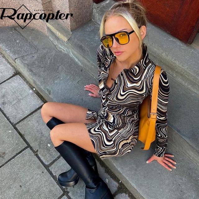 Rapcopter Paisley Brown Mini Dress y2k Aesthetic Sundress Turn Down Collar Vintage Short Dress Button Skinny Bodycon 2021 90S 1