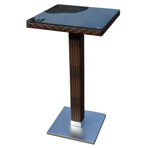 Table CANDICE, High, Aluminum, Rattan Chocolate, 60x60 Cms