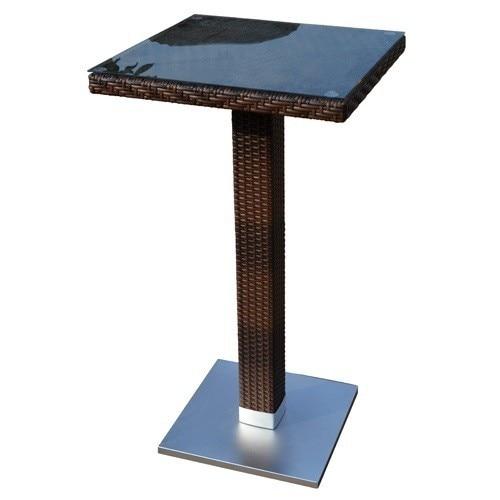 Table CANDICE, High, Aluminum, Rattan Chocolate, 60x60 Cms