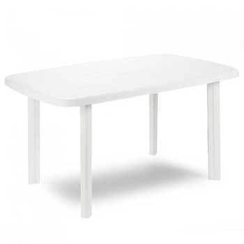 Resin table headlamp white Oval 137x85x72cm Progarden