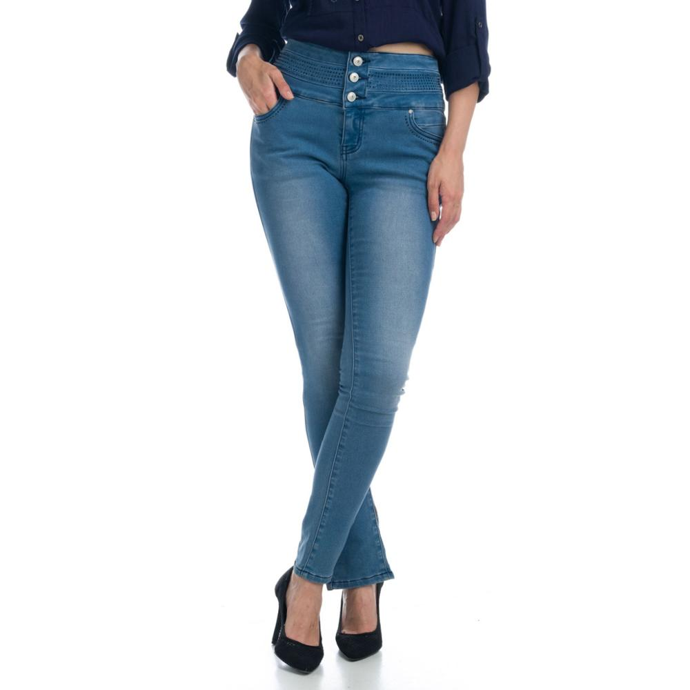 KOROSHI PANTS LONG HIGH WAIST DENIM ELASTIC WOMAN