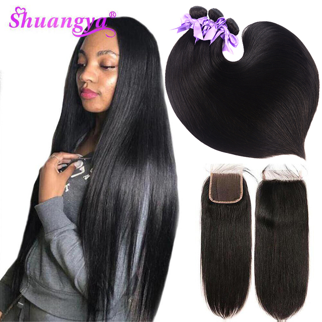 Shuangya Brazilian Straight Hair Bundles With Closure High Quality 4x4 Closure With Bundles 100% Remy 3/4 Bundles With Closure