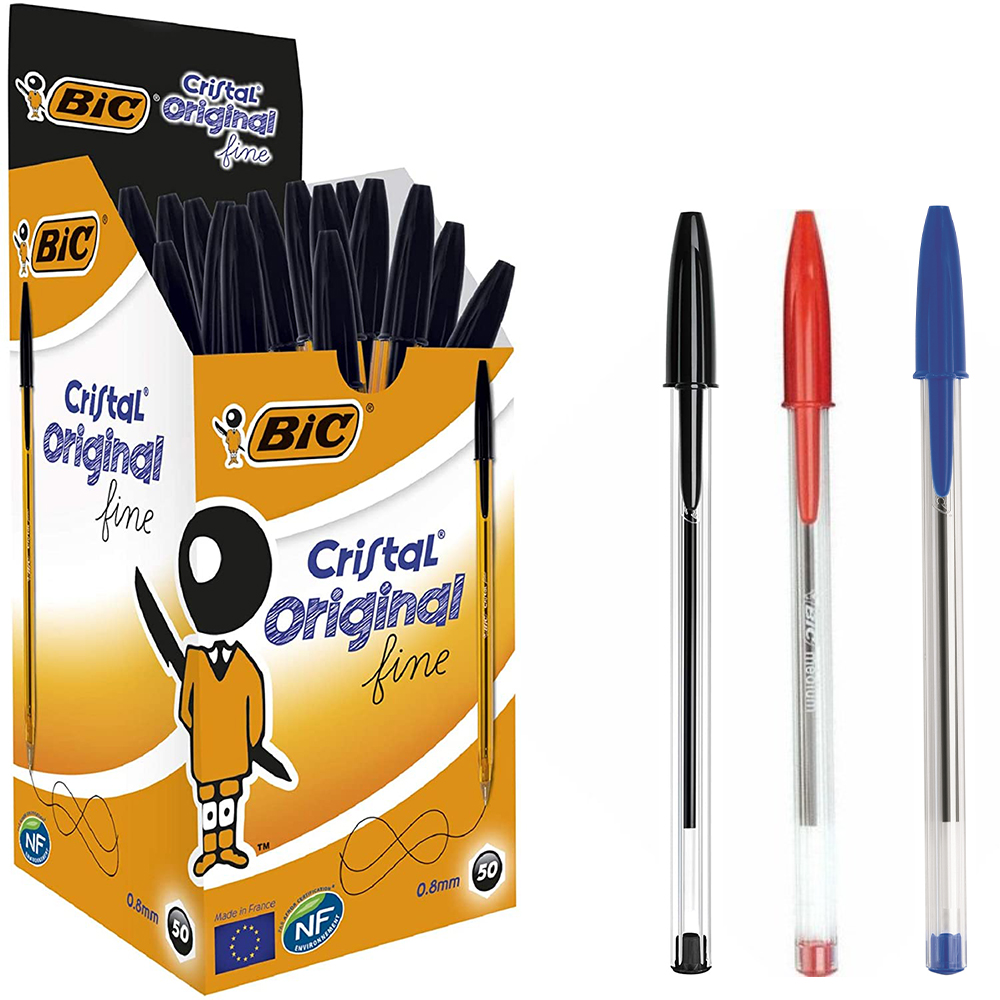 Bic Cristal medium ballpoint pen 50 Pcs school office office travel all use black blue red Office desk