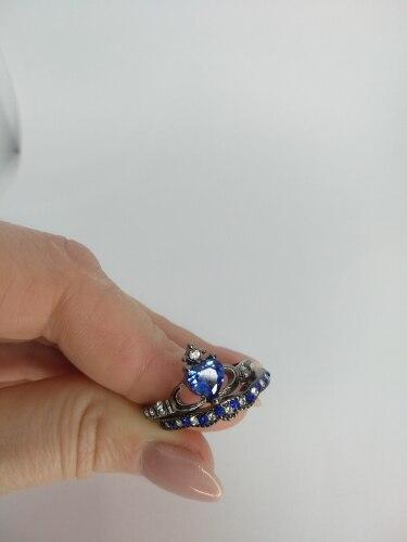 Bague de Fiançailles Double empilable pour femme zircon coeur bleu