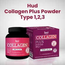 Hud Collagen Plus Powder - Tip 1,2,3 Food Supplement Containing Collagen and Vitamin C (30-Day Serving) '99.5% COLLAGEN' Type I Collagen 7300 mg, Type II Collagen 100 mg, Type III Collagen 2550 mg, C Vitamin 50 mg