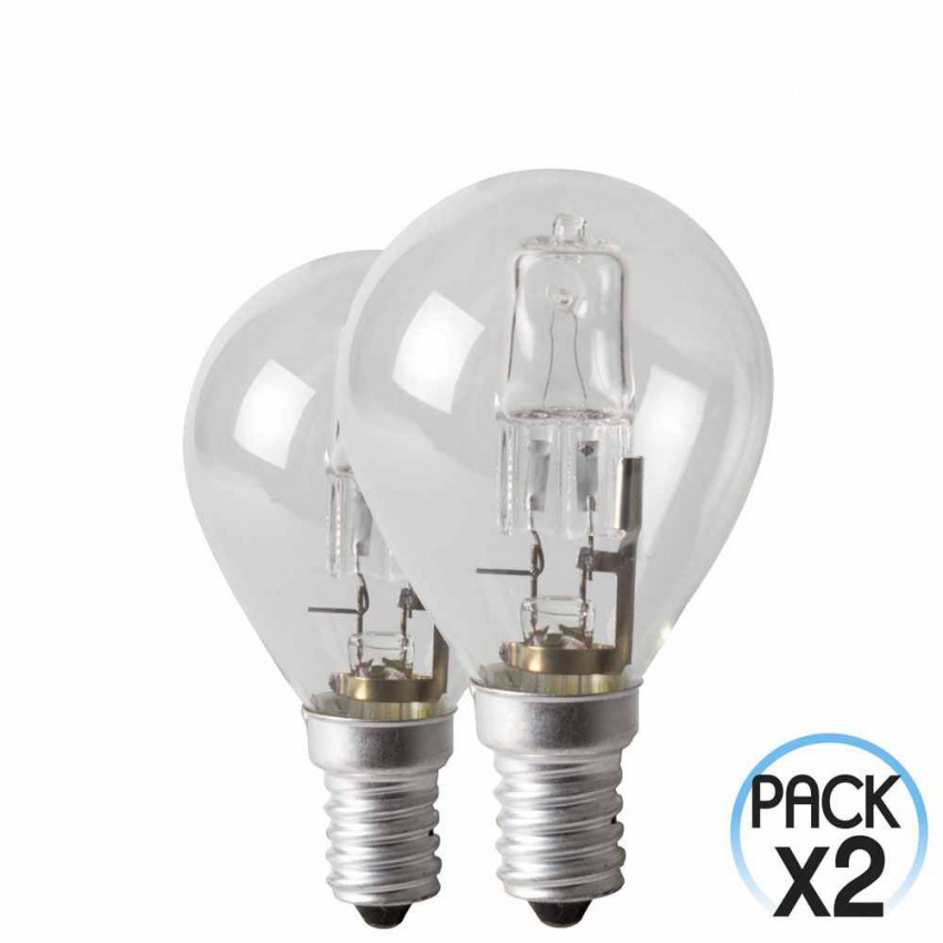 Pack 2 Bulbs Eco-Halógenas Spherical Dimmable E14 42W