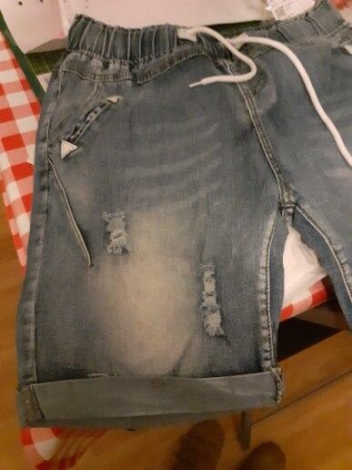 Plus Size 4Xl 5Xl Summer Ripped Jeans Short Pants Women Casual Lace Up Capris Ladies Wide Leg Denim Jeans Harem Pants photo review
