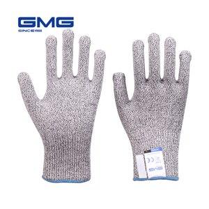 Image 1 - Hot Sales Cut Resistant Gloves GMG Grey Black HPPE EN388 Level 5 Work Safety Gloves Food Grade for Kitchen
