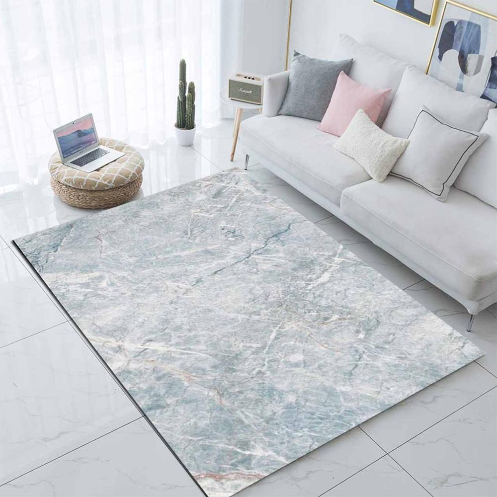 Else Blue White Marble Design Geometrics 3d Print Non Slip Microfiber Living Room Decorative Modern Washable Area Rug Mat