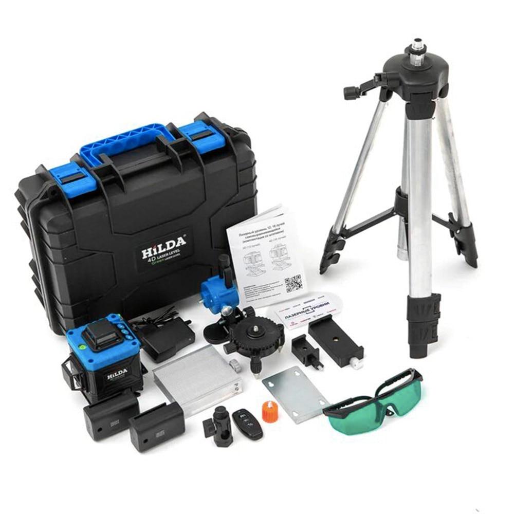 Лазерный уровень 4D HiLDA 16 зеленых лучей, база 360 и 2 шт. Li-on батареии. Штатив 5/8