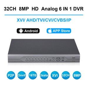 Hd cctv 5mp 16/32 canais ahd dvr h.265 cvi tvi câmera ip analógico nvr 4 k hdmi p2p onvif gravador de vídeo digital até 8 tb