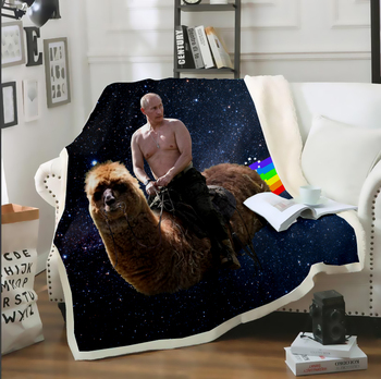 Putin Rides A Alpaca Funny 3D Print Thin Quilt Throw Bedspread Blanket Sofa Bed Chair Bedding Fleece Plush Sherpa Blanket soft spring autumn 4 color portable blanket fleece bedding throws on sofa bed car chair in living room plaids bedspread