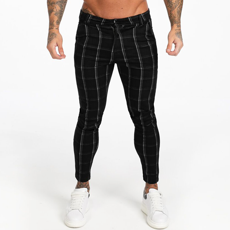 GINGTTO Men's Chinos Pants Skinny Fit Elastic Waist Black Plaid Autumn Stretchy Chinos Pants Men Size 28-36 EU Size Slim Leg