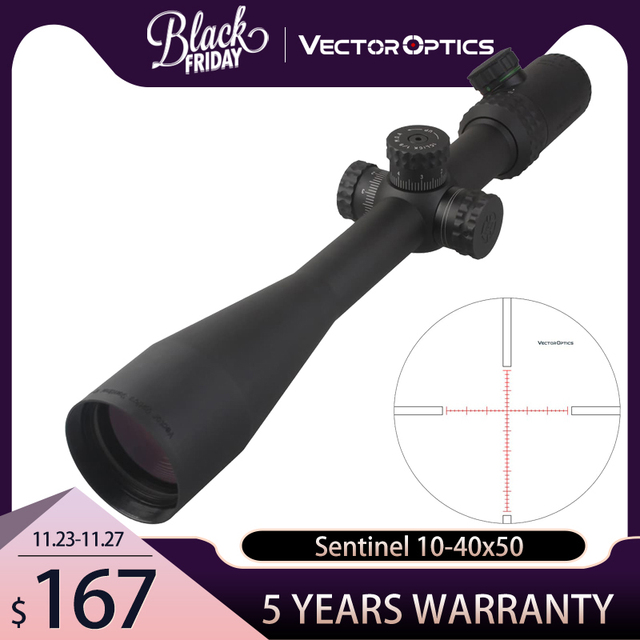 Vector Optics Gen 2 Sentinel 10 40x50 Shooting Sniper Riflescope Scope with Illuminated MP Reticle for Dear Sight Hunting