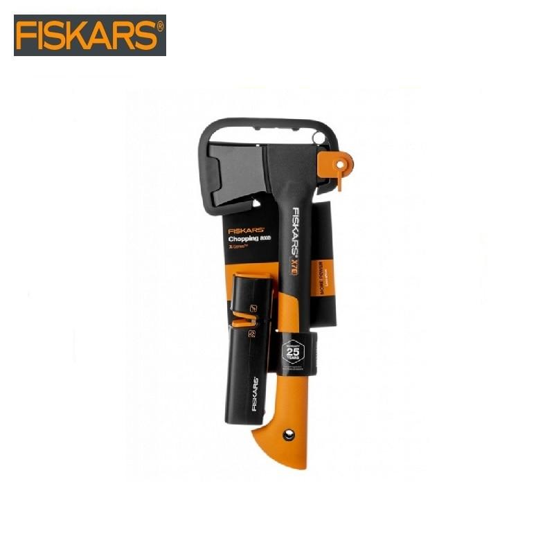 Ax universal X7 + sharpener 120740 Fiskars (1020183) heavy harvesting  Woodworking tools tomahawk dividing ax survival