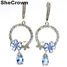 Awesome Paris Blue Topaz, White CZ Woman's Wedding 925 Silver Earrings 49x26mm