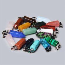 Lot de 5 pendentifs en pierre naturelle de bonne qualité, 22x8mm, pour la fabrication de bijoux