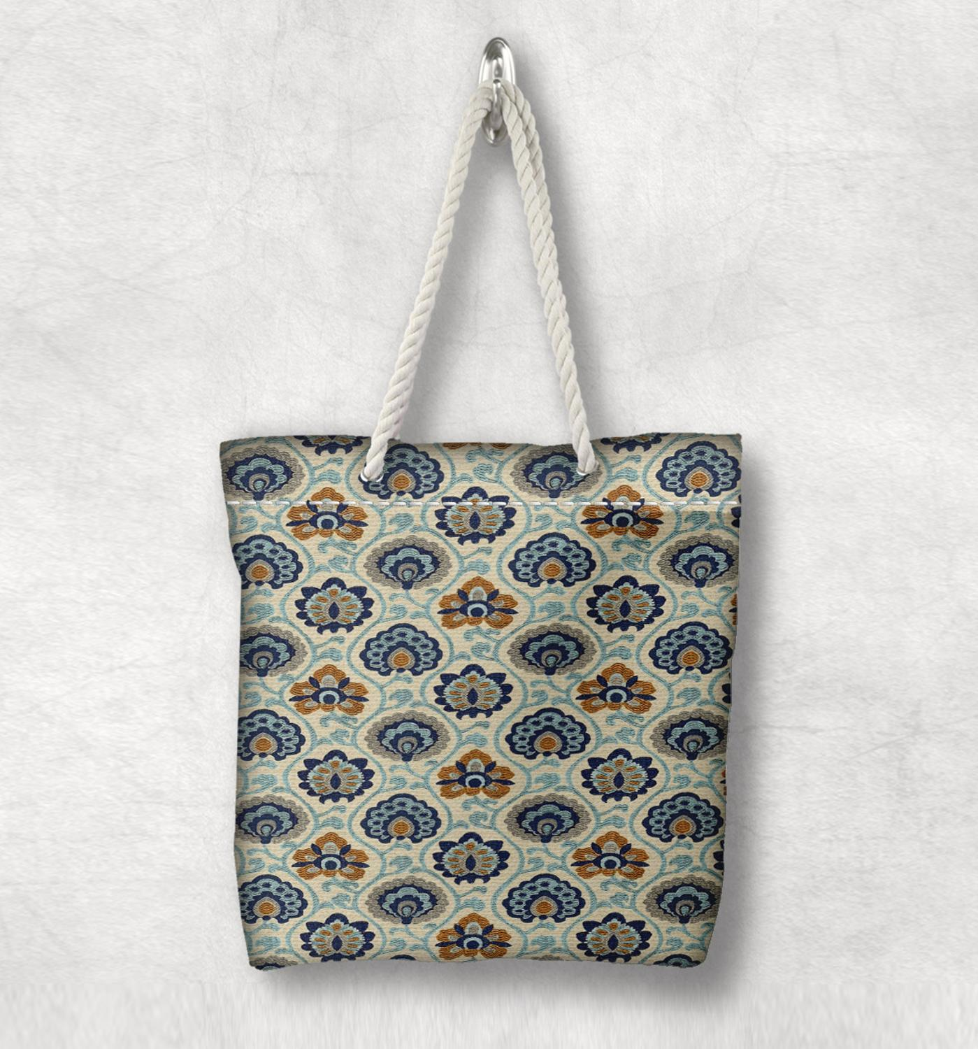 Else Blue Green Floral Anatolia Vintage Fashion White Rope Handle Canvas Bag Cotton Canvas Zippered Tote Bag Shoulder Bag