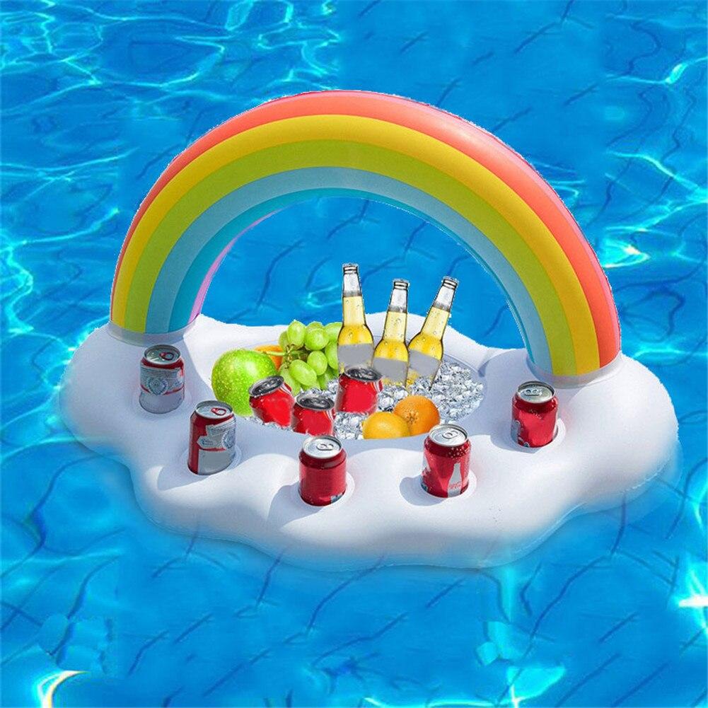 Rainbow Cloud Inflatable Ice Bucket Beach Swimming Pool Floating Ice Bucket Creative Wine Beer Beverage Rack Drink Holder