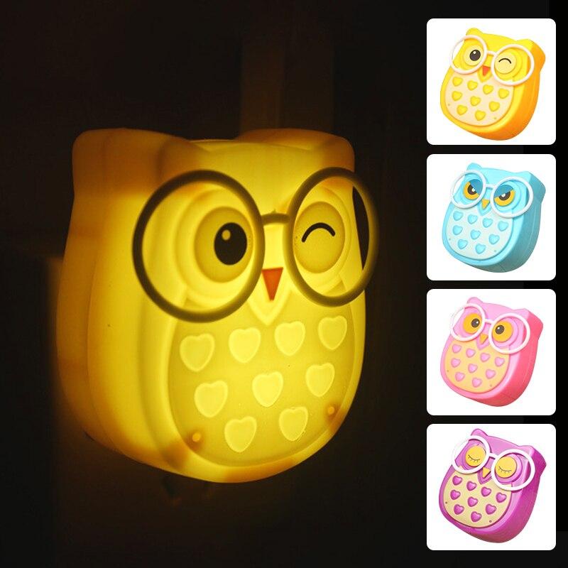 LED Night Light Wireless Light Sensor EU US Plug Mini Cute Owl Night Lights For Baby Room Bedroom Corridor Lamp