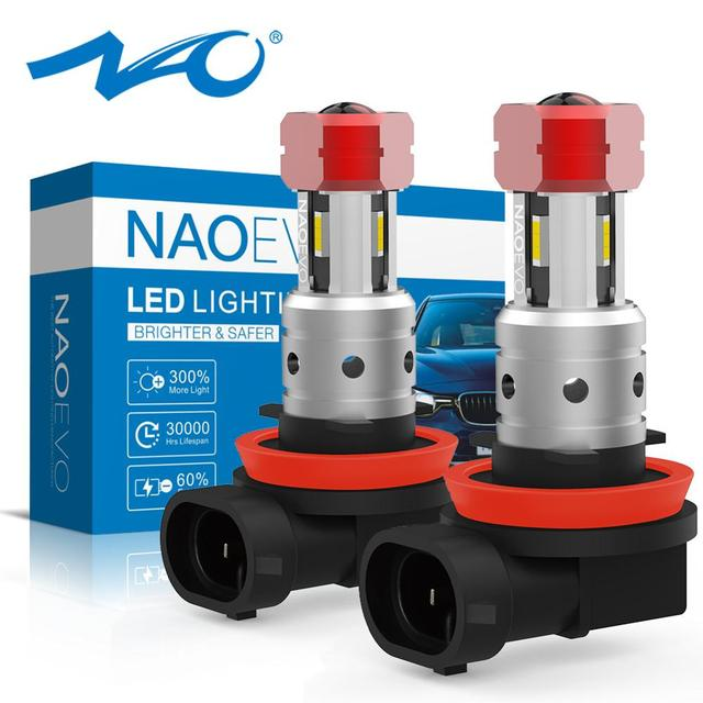 ナオH11 led HB4 フォグライトH8 HB3 H10 8 ワット 2000Lm自動H16 9005 9006 ブラブ 4SMD 1860 チップホワイトアンバー車の運転日ランニングランプ