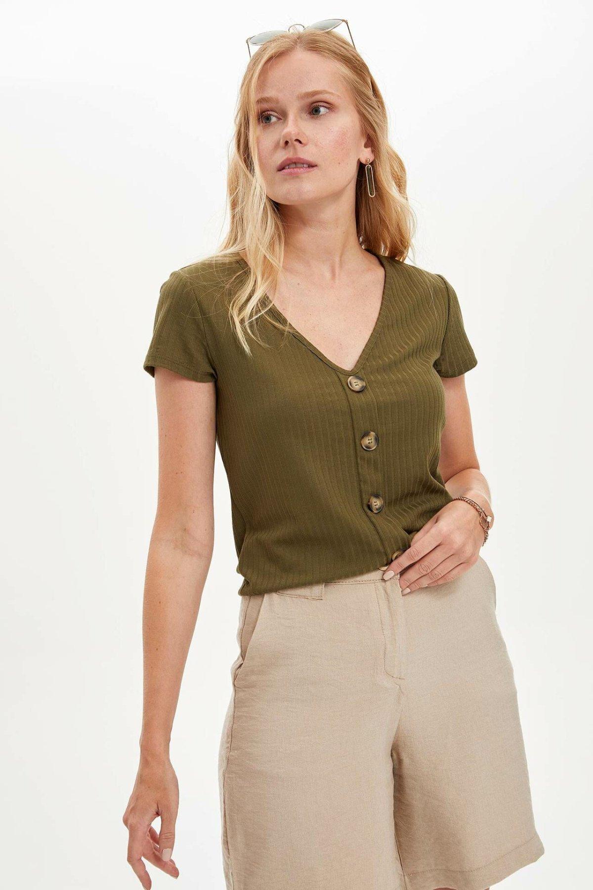 DeFacto Woman Deep V-neck Button Top Tees Women Summer Knitted Short Sleeve T-Shirt Women Casual Fit Top Shirts-L7836AZ19SM