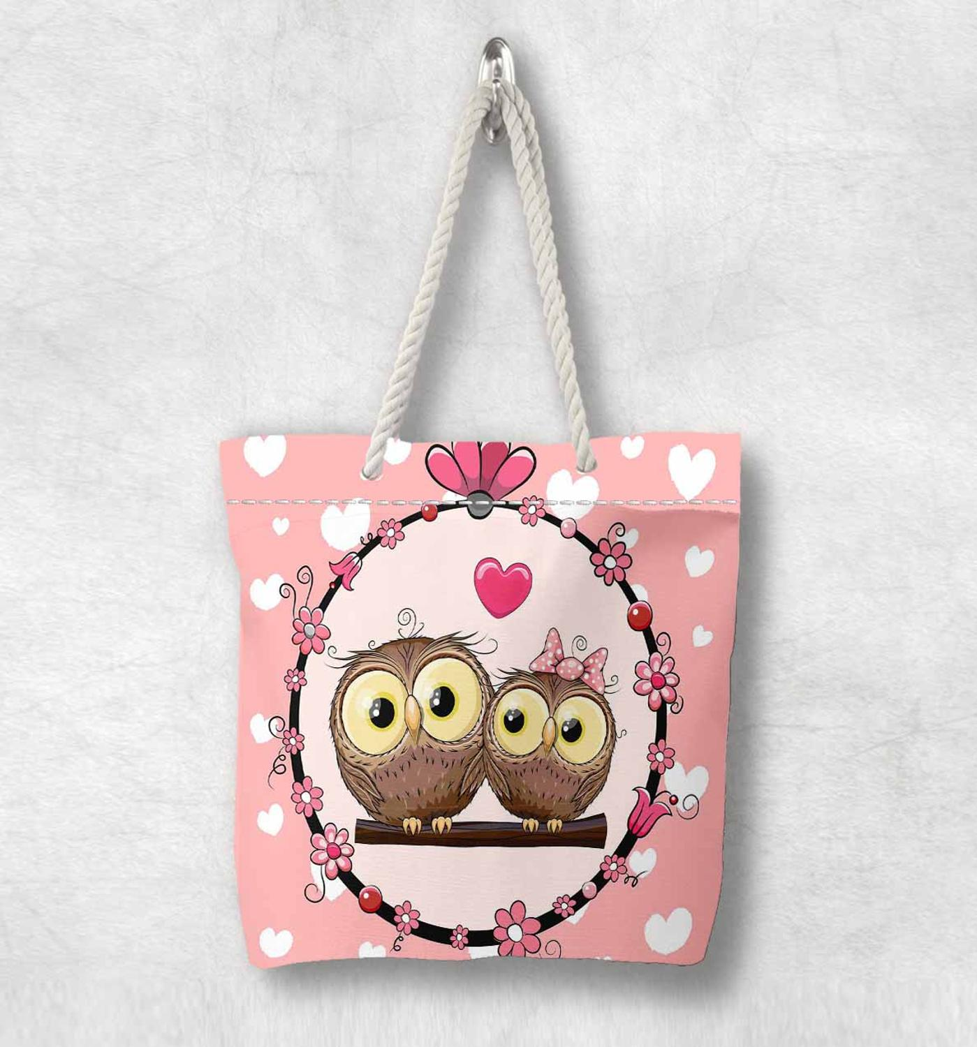 Else Pink Floor White Hearts Cute Owls New Fashion White Rope Handle Canvas Bag  Cartoon Print Zippered Tote Bag Shoulder Bag