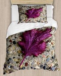 Innego brązowy ściana podłoga na fioletowy liście kwiatowy 4 sztuka 3D druku satyna bawełniana pojedyncze poszewka na kołdrę zestaw poszewka na poduszkę łóżko arkusz|Kołdra|   -