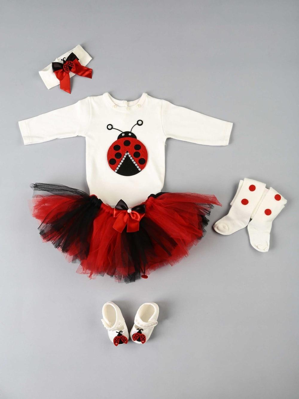 083-1115-002 Kırmızı Kırmızı Uğurböcekli Bebek Tütü Takım (1)