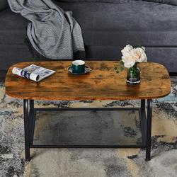 Mesa de centro ovalada con estante de almacenamiento mesa de cóctel Industrial para sala de estar aspecto de madera acento marco de metal para muebles