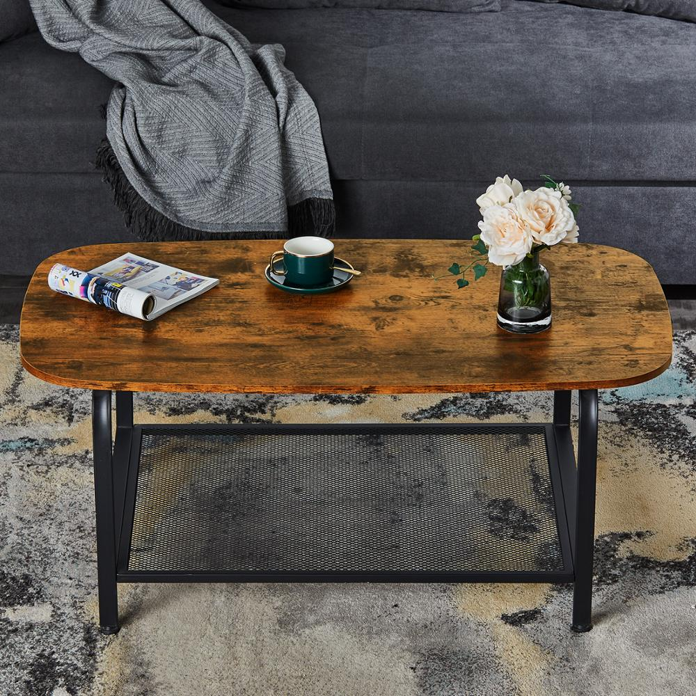 oval coffee table with storage shelf industrial cocktail table for living room wood look accent furniture metal frame