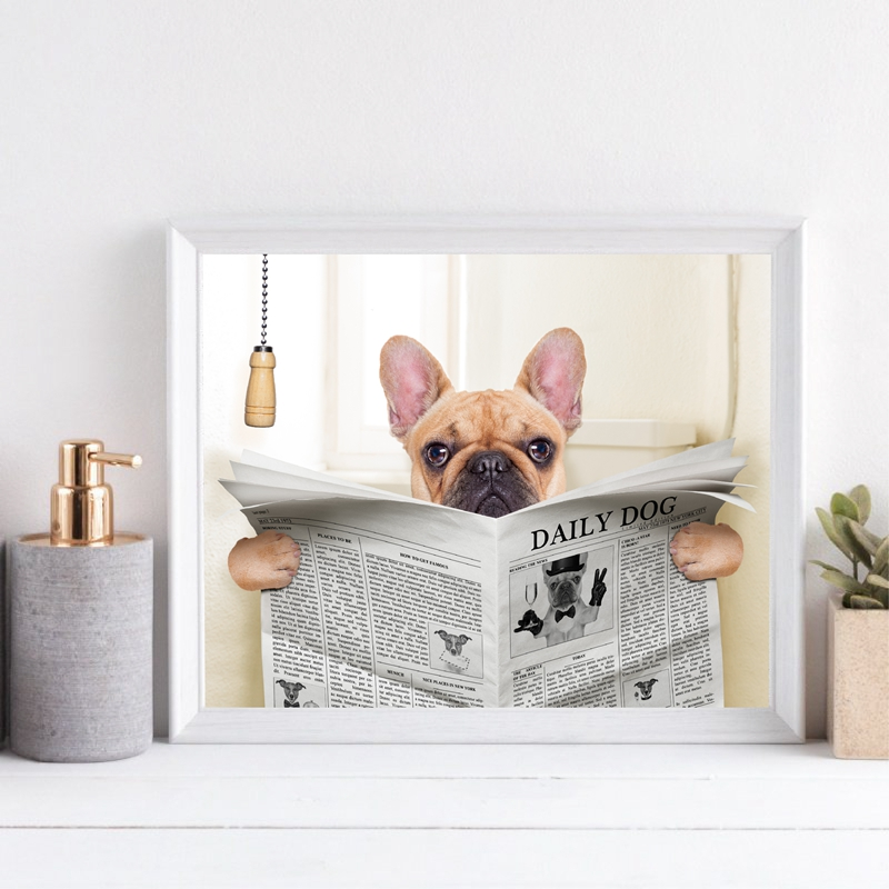 Fawn French Bulldog Dog Sitting on Toilet and Reading Magazine Poster Wall Decor