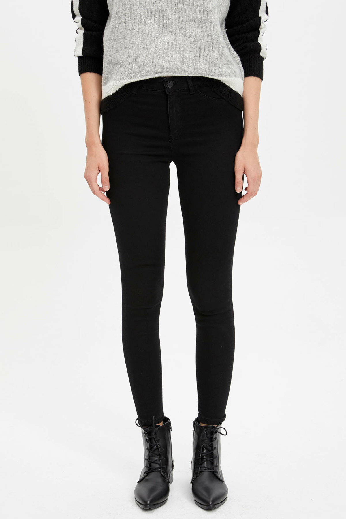 DeFacto Women Fashion Solid Jean Trousers Female High Waist Elastic Denim Female Slim Pencil Crop Pants Lady