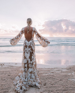 Image 5 - Mryarce 2020 Modern Bride Unique Lace Long Sleeve Boho Wedding Dress Bohemian Bridal Gowns