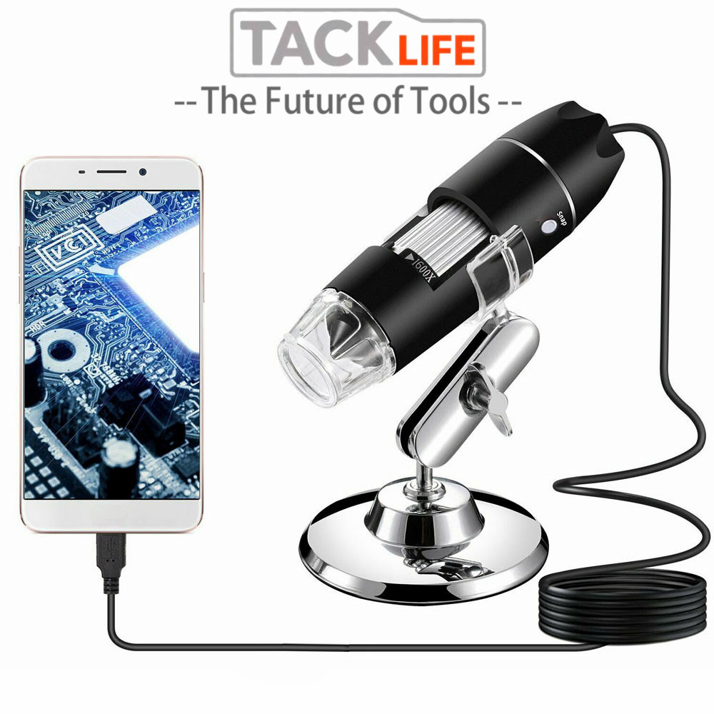TACKLIFE 0-1600X USB Microscope Handheld Portable Digital Microscope USB Interface Electron Microscopes With 8 LEDs With Bracket