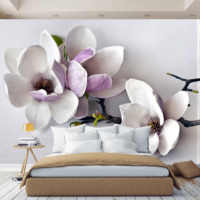 3D wall mural flowers in room, wallpaper on wall, for Hall, kitchen, bedroom, nursery, wall mural expanding space
