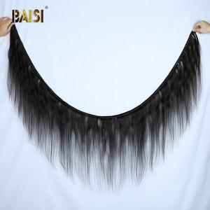 Image 2 - BAISI волосы перуанские прямые натуральные волосы, 3 пучка с 4X4 закрыванием, 100% натуральные волосы для наращивания, длинные, бесплатная доставка