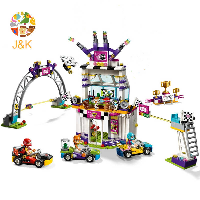 41352 654pcs Girls Friends Series The Big Race Day Model Building Block Brick Set Toys For Children 11040 Gift
