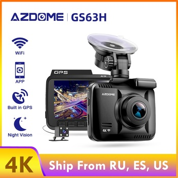 AZDOME 2160P WiFi Car DVR GS63H 4k 60fps Novatek Dash Cam Speed Coordinates Logger Night Vision Dual Dashcam 1080p Rearview Cam image