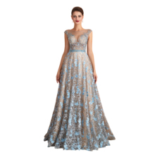NEW 2020 St.Des A-line Round neck Russian Champagne Blue Beading Sleeveless Designer Floor Length Evening Dress Party