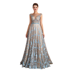 NEW 2020 St.Des A-line Round neck Russian Champagne Blue Beading Sleeveless Designer Floor Length Evening Dress Party Dress