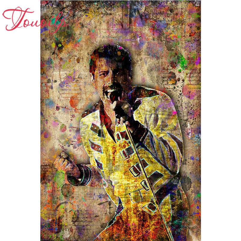 TOUOILP diy יהלומי רקמה מלא כיכר & עגול תרגיל 5d diy יהלומי ציור כוכב רוק פרדי מרקורי פסיפס עיצוב הבית