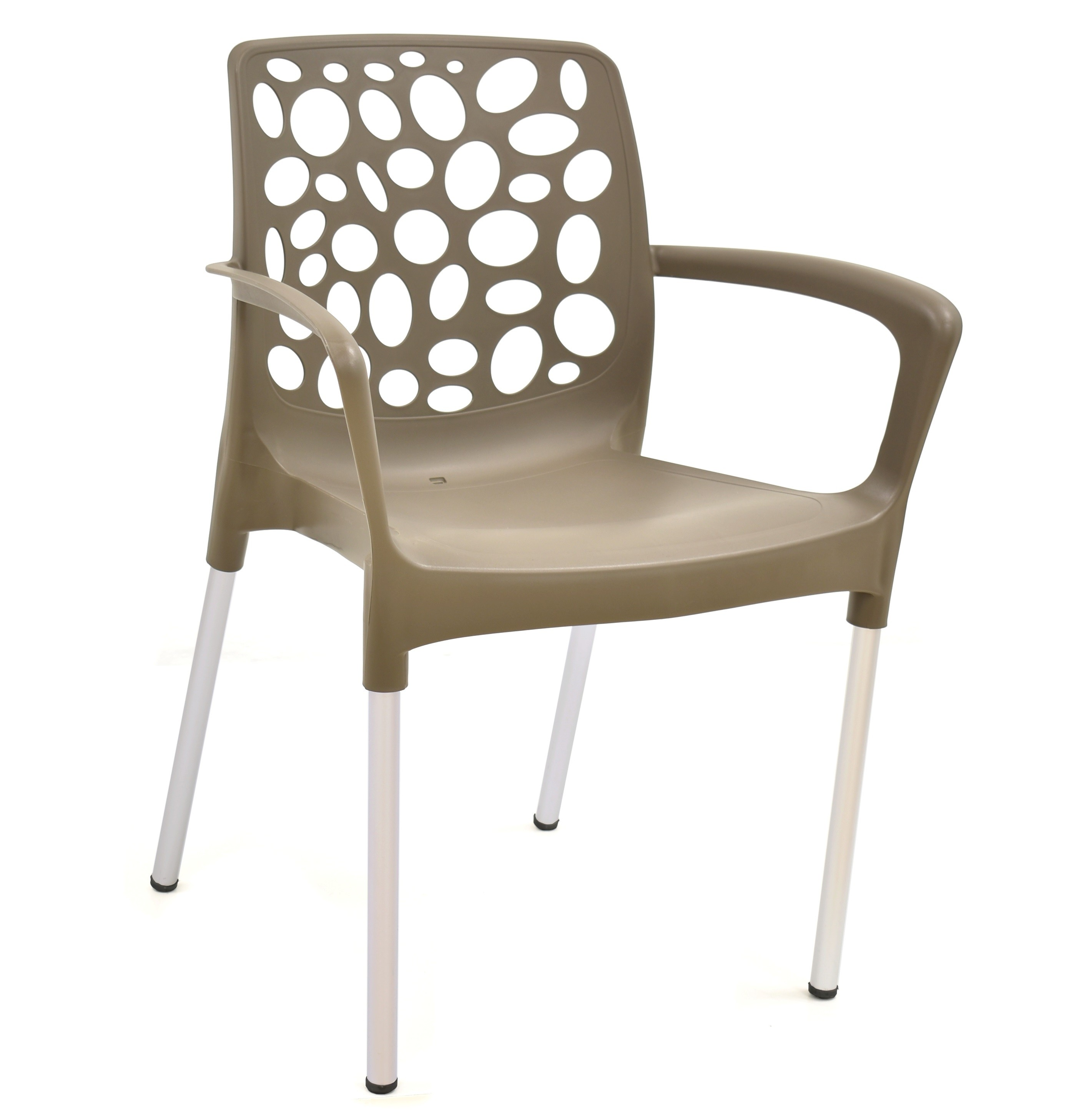 Armchair ALLEGRA, Aluminum, Stackable, Polypropylene Taupe