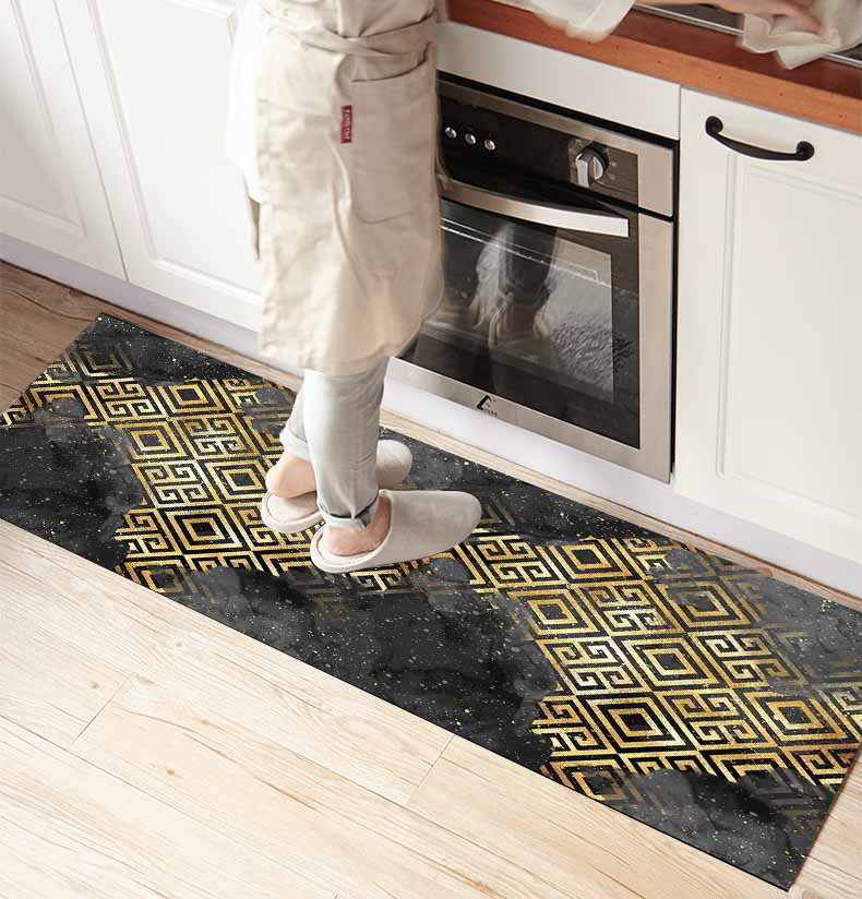 Else Black Clouds Yellow Geometric Ikat 3d Print Non Slip Microfiber Kitchen Counter Modern Decorative Washable Area Rug Mat