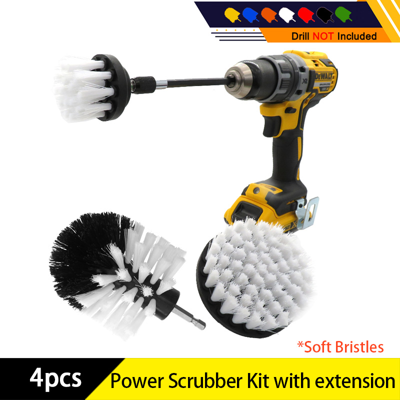 4pcs/set Drill Power Scrub Clean Brush Electric Drill Brush Kit With Extension For Cleaning Car, Seat, Carpet, Upholstery