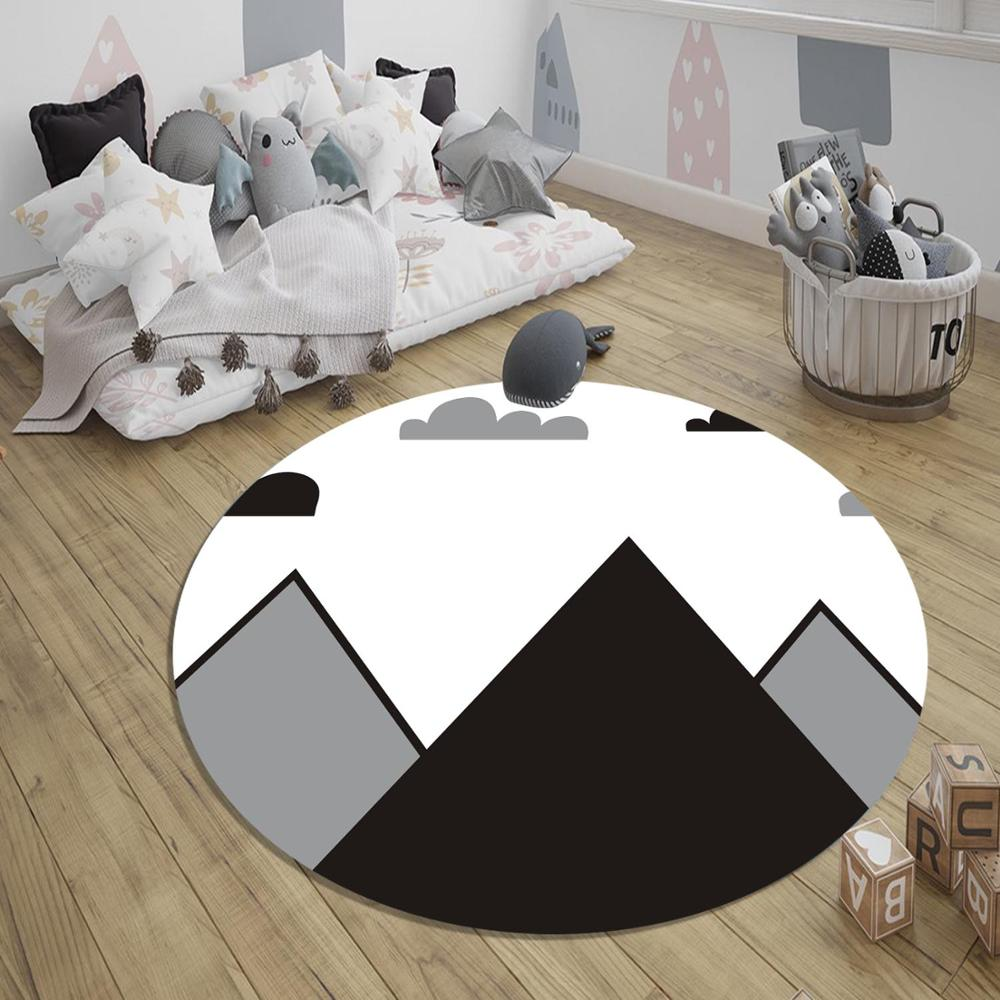 Else Gray Black White Mountains 3d Pattern Print Anti Slip Back Round Carpets Area Round Rug For Kids Baby Children Room