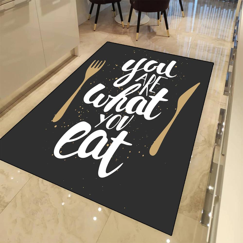 Else Black Board White Writen You Are What You Eat 3d Print Non Slip Microfiber Kitchen Modern Decorative Washable Area Rug Mat