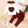 Весенняя одежда для маленьких девочек, Топ с длинным рукавом и оборками в форме сердца и милые штаны, повязка на голову, комплект одежды для ...